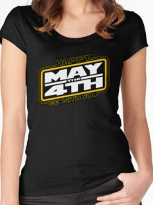 Happy May the 4th! (Yellow/White-Slanted) Women's Fitted Scoop T-Shirt