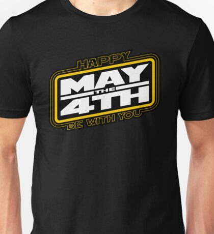 Happy May the 4th! (Yellow/White-Slanted) Unisex T-Shirt