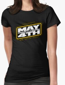 Happy May the 4th! (Yellow/White-Slanted) Womens Fitted T-Shirt
