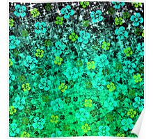 LUCK OF THE IRISH Pretty Bold Kelly Green Emerald Jase Floral Flowers Lucky Clover Pattern Abstract Fine Art Painting Poster