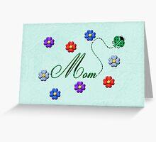 Green Heart Ladybug Mom Flowers Card Greeting Card
