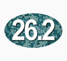 26.2 Oval Sticker - Mosaic Teal by robotface