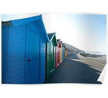 Brightly coloured beach huts, Whitby West Cliff Poster