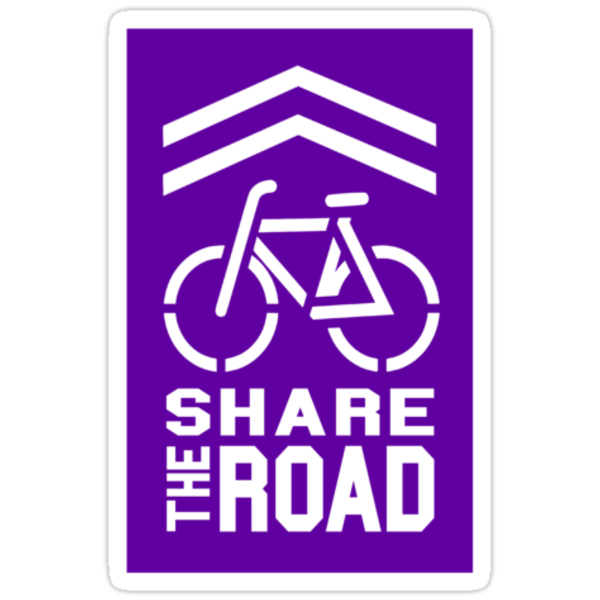 Share the Road Sticker - Purple Version by robotface