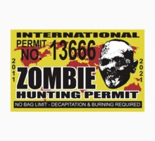 Zombie Hunting Permit Sticker  by robotface