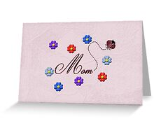 Red Heart Ladybug Mom Flowers Card Greeting Card