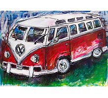 Volkswagen Red Bus Photographic Print