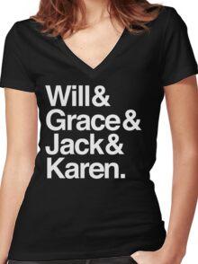 Will & Grace (& Jack & Karen) Women's Fitted V-Neck T-Shirt