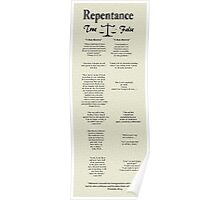"""Repentance: True vs False""  Poster"