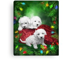 Puppies For Christmas Canvas Print
