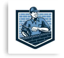Brick Layer Mason Masonry Worker Retro Canvas Print