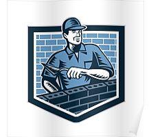 Brick Layer Mason Masonry Worker Retro Poster