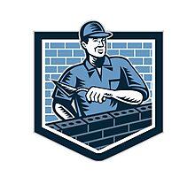 Brick Layer Mason Masonry Worker Retro Photographic Print