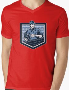 Brick Layer Mason Masonry Worker Retro Mens V-Neck T-Shirt