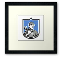 Plumber Holding Wrench Woodcut Shield Framed Print