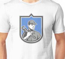 Plumber Holding Wrench Woodcut Shield Unisex T-Shirt