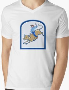 Rodeo Cowboy Bull Riding Cartoon Mens V-Neck T-Shirt
