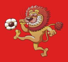 Brave Lion Kicking a Soccer Ball by Zoo-co