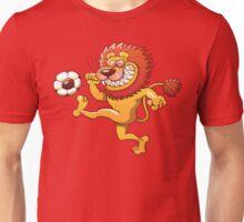Brave Lion Kicking a Soccer Ball Unisex T-Shirt