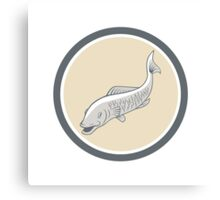 Trout Swimming Cartoon Circle Canvas Print