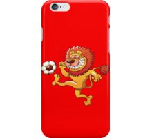 Brave Lion Kicking a Soccer Ball iPhone Case/Skin