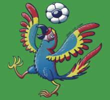 Cool Macaw Playing with a Soccer Ball on its Head Kids Clothes