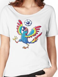 Cool Macaw Playing with a Soccer Ball on its Head Women's Relaxed Fit T-Shirt