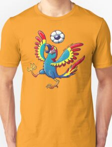 Cool Macaw Playing with a Soccer Ball on its Head Unisex T-Shirt