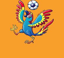 Cool Macaw Playing with a Soccer Ball on its Head Womens Fitted T-Shirt