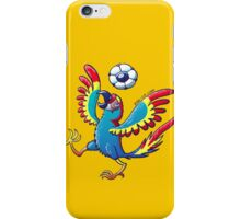Cool Macaw Playing with a Soccer Ball on its Head iPhone Case/Skin