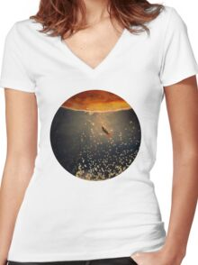 toward the sun Women's Fitted V-Neck T-Shirt