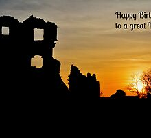 Coity Castle Birthday Card for a Great Dad by Paula J James
