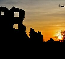 Coity Castle Silhouette - Thank You Card by Paula J James
