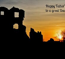 Coity Castle Silhouette - Father's Day Card for a great Dad by Paula J James