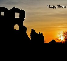 Coity Castle Silhouette - Mother's Day Card   by Paula J James