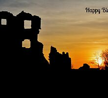 Coity Castle Silhouette Birthday Card by Paula J James