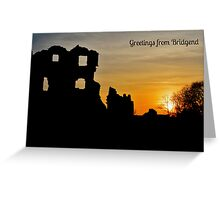 Coity Castle Silhouette - Postcard or Greetings Card Greeting Card
