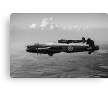 Lancasters AJ-G and AJ-N carrying Upkeeps black and white version Canvas Print