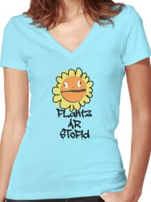 PLantz AR SToPiD, Art Inspired by Plants Versus Zombies: Garden Warfare Women's Fitted V-Neck T-Shirt