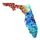 Florida - Map By Counties Sharon Cummings Art by Sharon Cummings