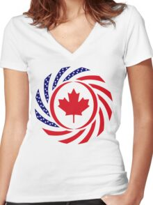 Canadian American Multinational Patriot Flag Series 1.0 Women's Fitted V-Neck T-Shirt