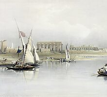 General View of the Ruins of Luxor from the Nile by Bridgeman Art Library