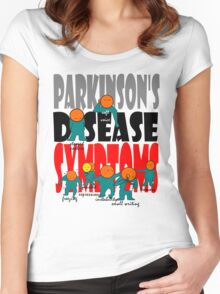 Parkinson's disease symptoms, tremors, freezing of gait, masked expressions, slow movements, bradykinesia, soft voice, micro graphia, small hand writing Women's Fitted Scoop T-Shirt