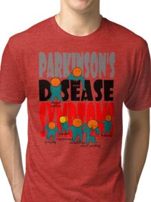 Parkinson's disease symptoms, tremors, freezing of gait, masked expressions, slow movements, bradykinesia, soft voice, micro graphia, small hand writing Tri-blend T-Shirt