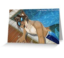 Pool side furry Greeting Card