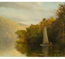 Sailboat on river Photographic Print