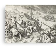 Using Sponges to Collect Naphtha from the Surface of the Waves Canvas Print