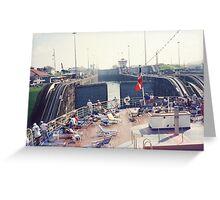 Crossing the Atlantic Locks, Panama Canal Greeting Card