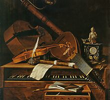 Still life with musical instruments by Bridgeman Art Library