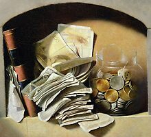 A trompe l'oeil of paper money, coins and a broken glass jar in a niche by Bridgeman Art Library